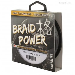 TRESSE POWERLINE BRAID POWER  GRISE  130 M